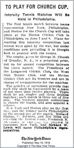A New York Times article announcing the first Church Cup, which was played at Merion Cricket Club. The article is dated May 19, 1918.