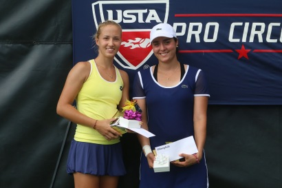 Singles Champion Paula Kania (left), and Finalist Ons Jabeur (right).