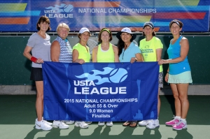 55 and Over 9.0 Women's team from Newtown Square, Pa. Players include Doranne Bigelow, Gail Marie Ferrigno, Karen Nyirjesy, Alison Harrison (Captain), Keiko Sato, Beckie Beazley, Joyce Szayna on November 1, 2015 - team photos during the Adult 55 & Over 7.0 and 9.0 USTA League National Championships in Surprise, AZ.